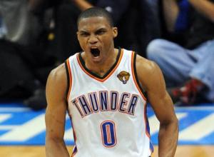 An example of Westbrook unleashing his trademark scream.