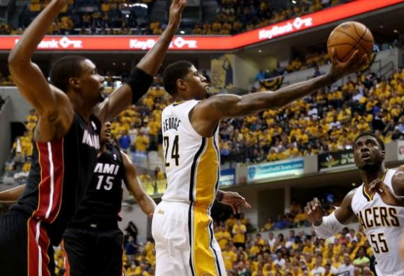 Paul George's length allows him to elude would-be shot-blockers at the rim.