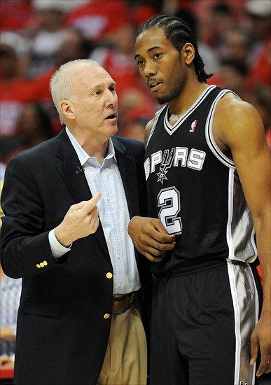 A real conversation, on the court, between Spurs coach Gregg Popvich and Spurs young star Kawhi Leonard.