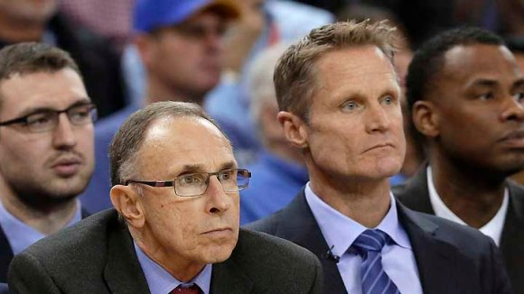 A rare sight: Warriors coach Steve Kerr and assistant Ron Adams shown with unpleasant expressions. (AP photo, KTVU)